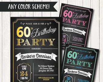 60th Birthday Invitation Invite Invitations For Women Men 1958