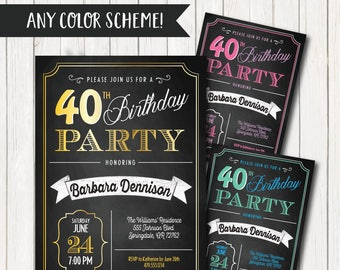 40th Birthday Invitations Party Invitation For Women Men Born 1978