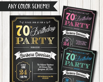 70th Birthday Invitations Party Invitation For Women Men Born 1948
