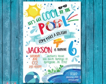 Pool Party Invitation Birthday Summer Cool By The Invite Boy