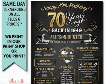 70th Birthday Poster Chalkboard Anniversary Digital OR Printed Banner Gift