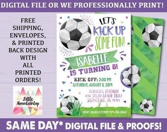 Soccer Birthday Invitation Party Sports Girl Sporty