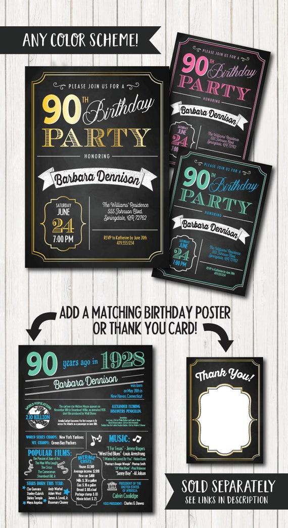 90th Birthday Invitations Party