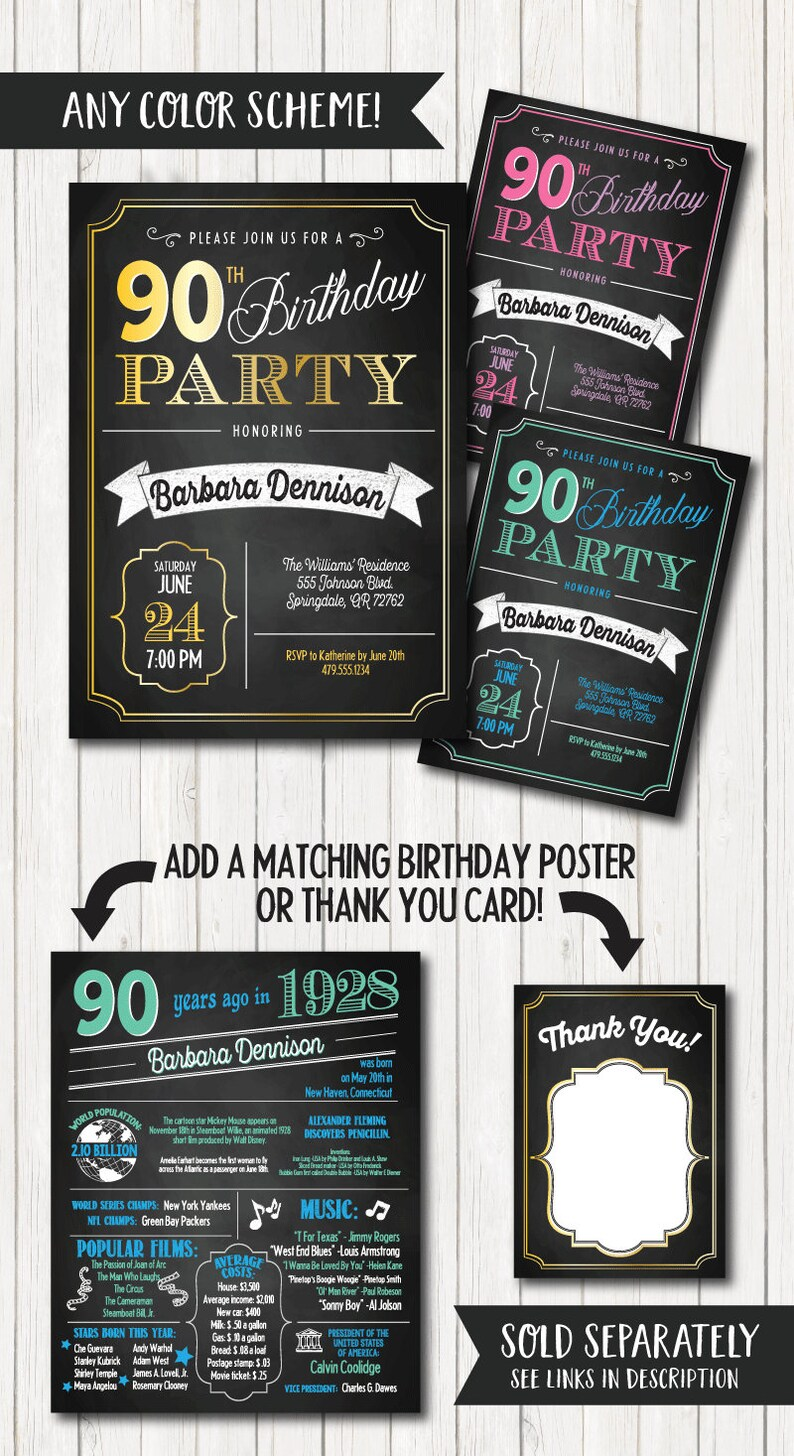 90th Birthday Invitations Party