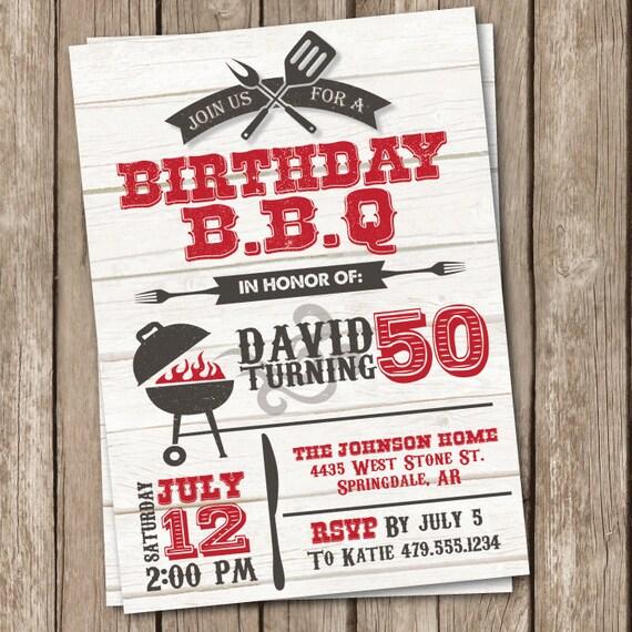 BBQ Birthday Invitation Grilling Party 50th