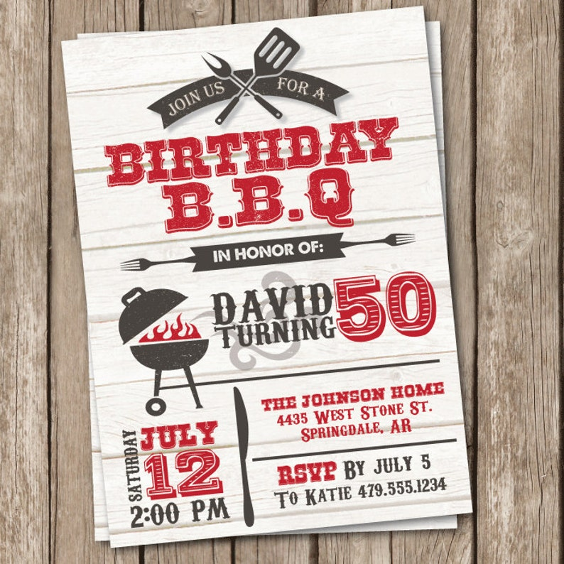 BBQ Birthday Invitation Grilling Party 50th