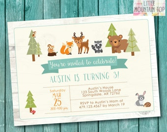 Woodland Birthday Invitation - Woodland Animal Birthday - Woodland Party Invitation - DIY Printable or Printed Invitations
