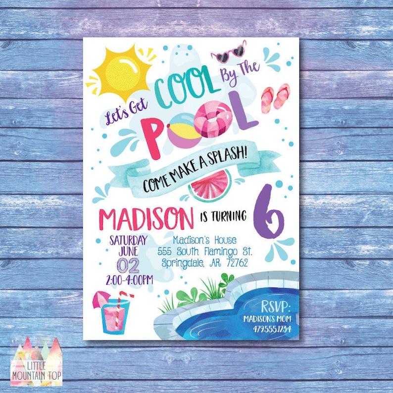 Pool Party Invitation Birthday Summer