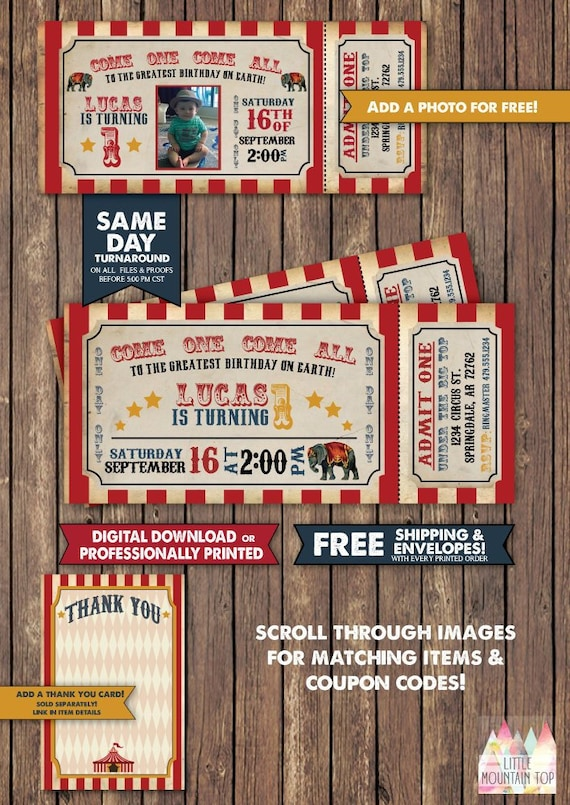 Circus Invitation Birthday Party