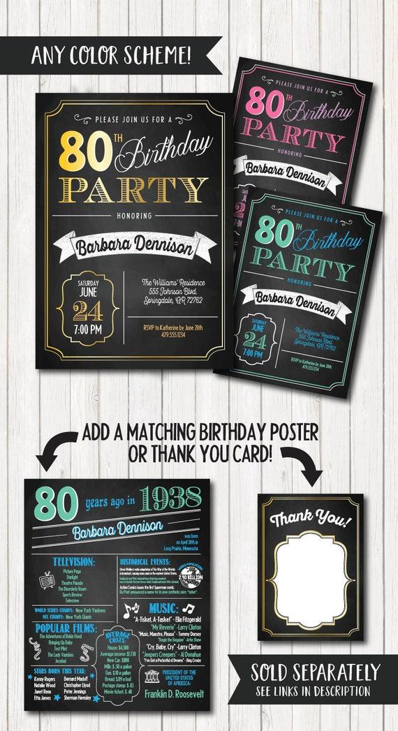 80th Birthday Invitations Party Invitation