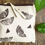 Block Printed Zippered Pouch // Poppies // Wallet // Coin Purse