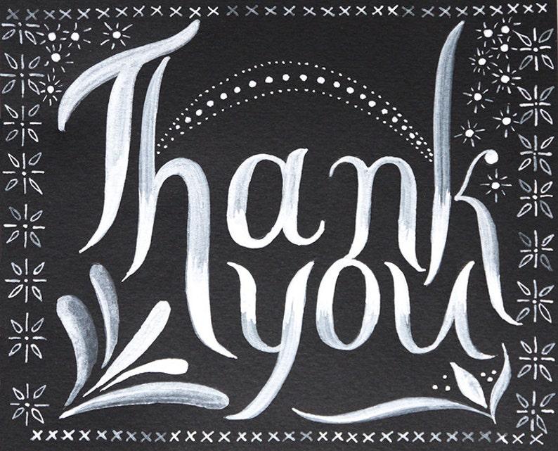thanks Black White Thank You blank Card Folk art ink calligraphy cross stitching Envelope greeting card gratitude