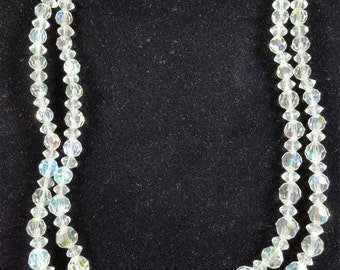 Vintage AB Crystal Necklace & Earring Set