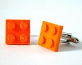 Groomsmen Gift - Orange Plate Cufflinks - Made with LEGO bricks - Mens Cufflinks - Gift for HIm - Best Man Gift - Dad