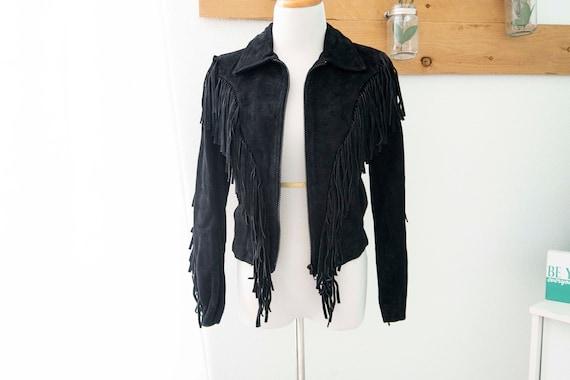 Vintage 80's Fringe Suede Leather Jacket