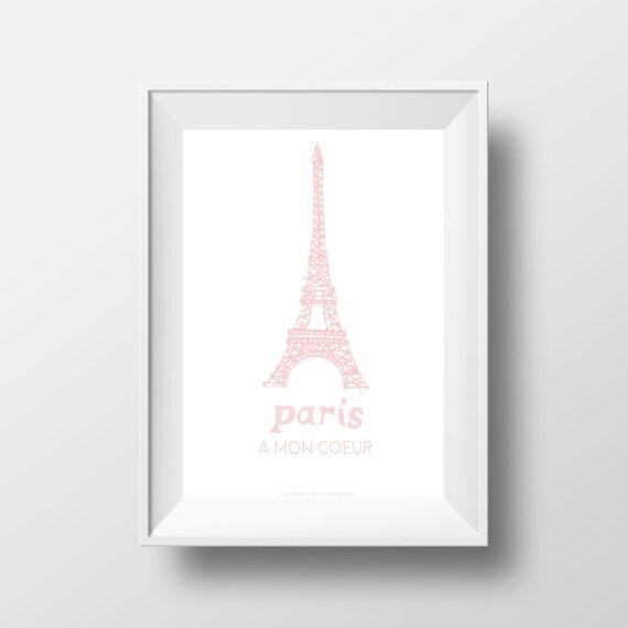 Französisch Sprüche Druck Paris ein Mon Coeur   Etsy