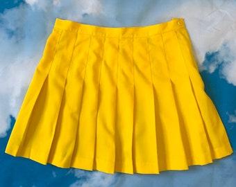 a990a5c60a Vintage 90s Sunshine Yellow High Waist Pleated Mini Tennis Skirt