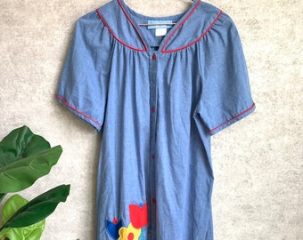 ba67a4f5d075 Vintage Blue Floral Embroidered Button Down Mumu Dress