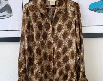 e3fe9ee94537 80s Escada Leopard Silk Long Sleeve Blouse Tag 38