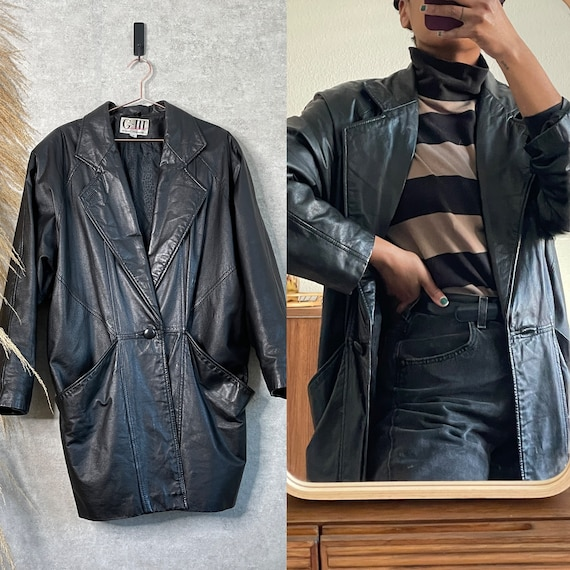 Vintage G-III 80s Black Leather Oversized Blazer J