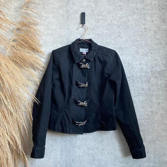 Vintage 1990s Black Denim Jean Jacket with Metal B