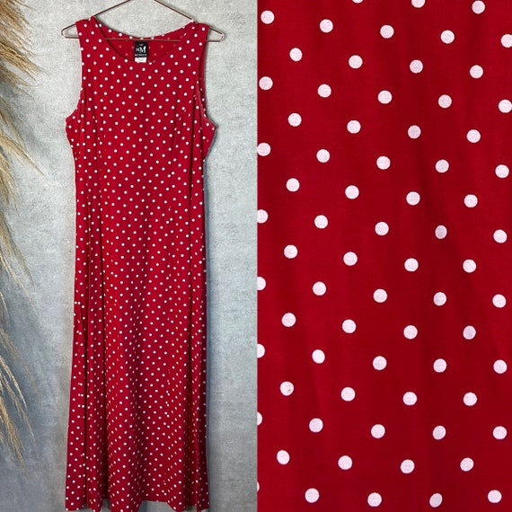 Vintage 1990s Red and White Polka Dot Sleeveless M