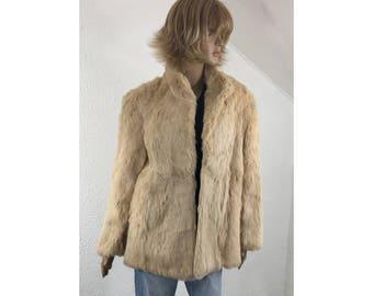 Rabbit fur coat, Winter coat, Fur coat, Warm winter coat, Women's size medium coat, Fancy coat, Long fur coat