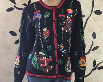 Christmas bear sweater,  Black Christmas sweater, Women's Christmas sweater, Button up sweater, Warm sweater, Size Large sweater