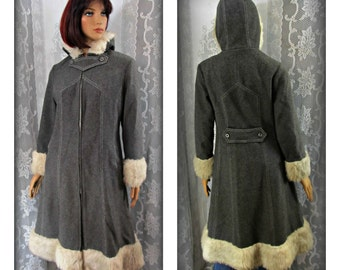 Gray wool coat, Size medium coat, Warm coat, Winter coat, Long fur coat, Fancy coat, Hooded coat, Long Wool coat
