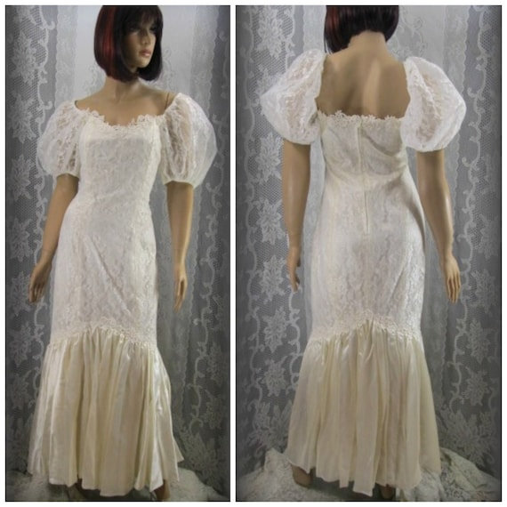 Vintage wedding dress, White dress, Lace wedding d