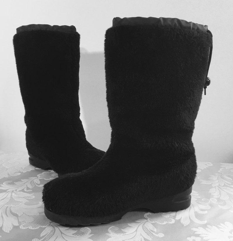 Womens black boots Black fur boots