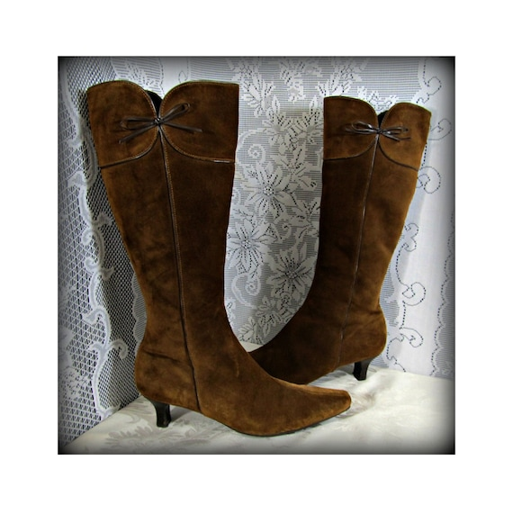 Women's suede boots, Women's Brown leather boots,