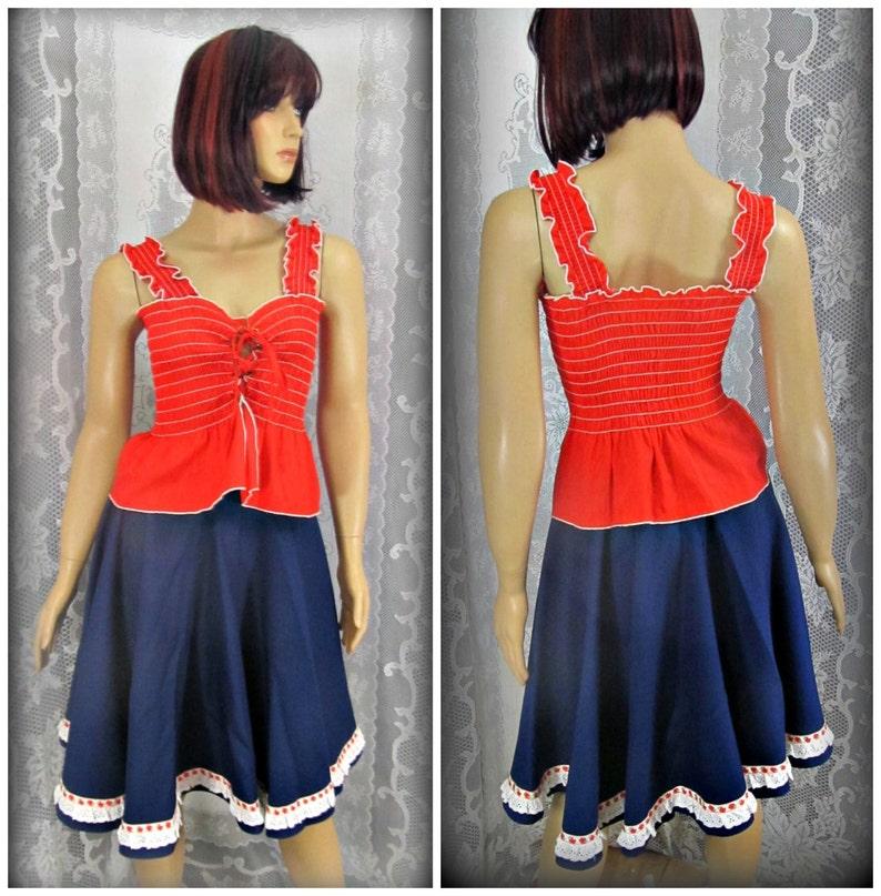 Vintage red white and blue outfit Women/'s blue skirt Twirl skirt Women/'s red summer shirt Line dancing skirt