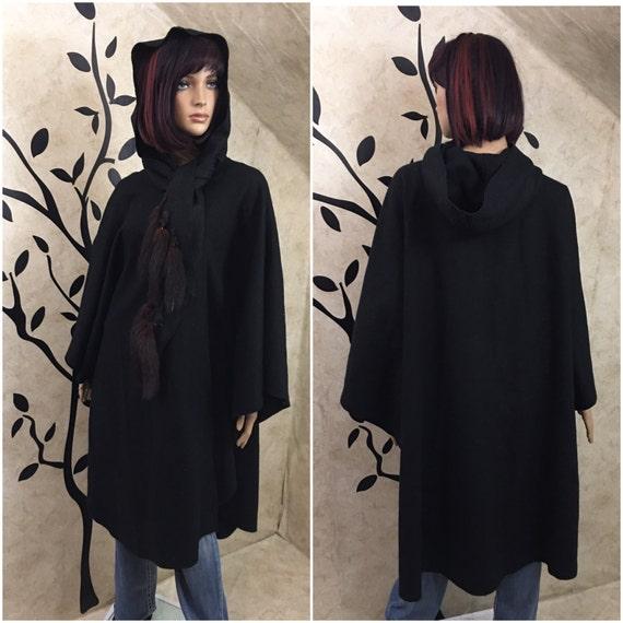 Black Cloak, Cloak with hood, Wool cape, Wool Cloa