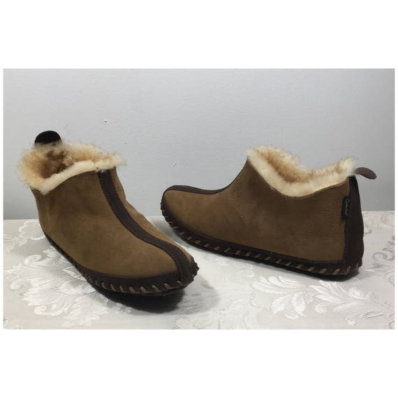 Women's fur slippers, Brown fur slippers, Women's