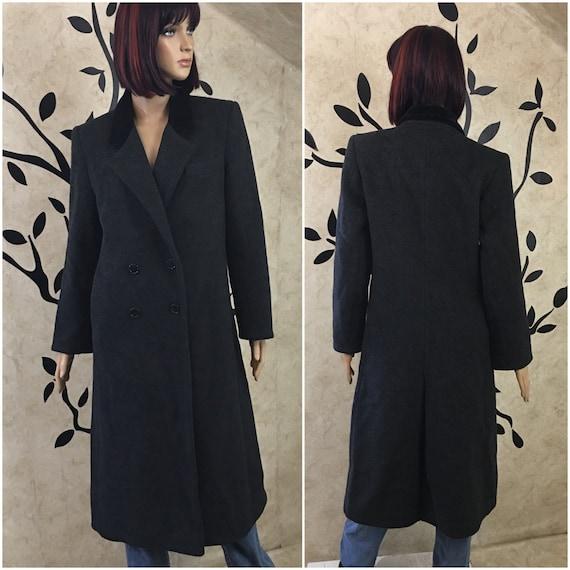 Black wool coat, Long Pea coat, Warm coat, Winter