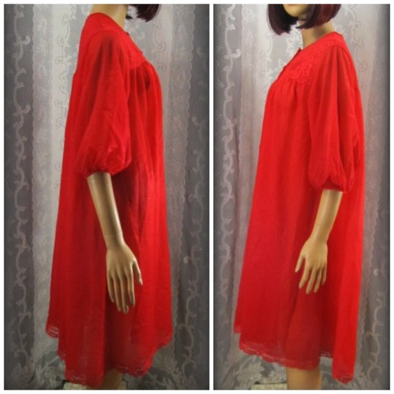 Red robe Button up house coat See through lingerie Sexy  2878e16e9