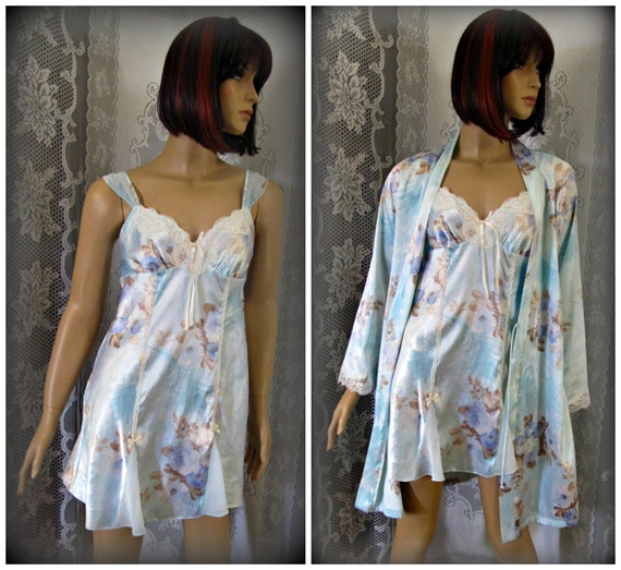 Women's nightgown with house coat, Floral nightgow