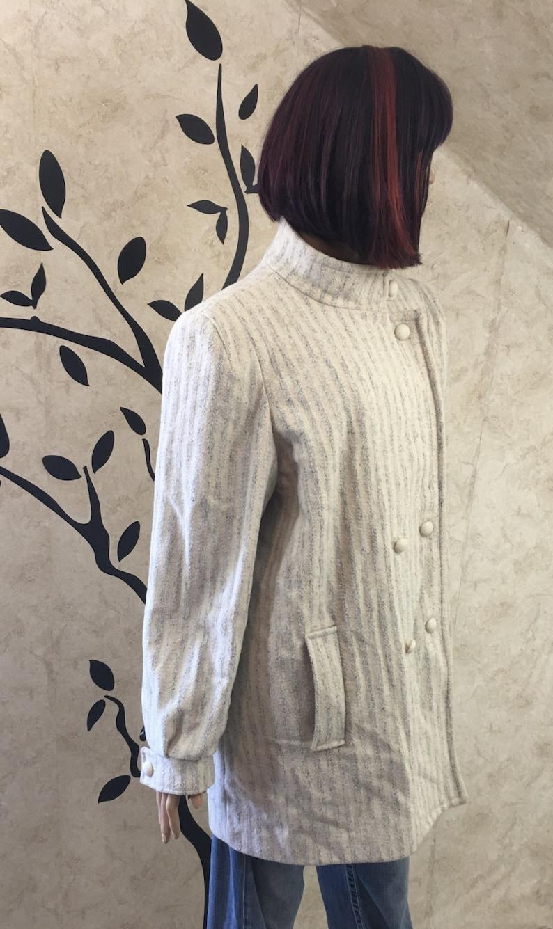 cf258dc1f22 White wool coat White Pea coat Warm coat Winter coat Plus
