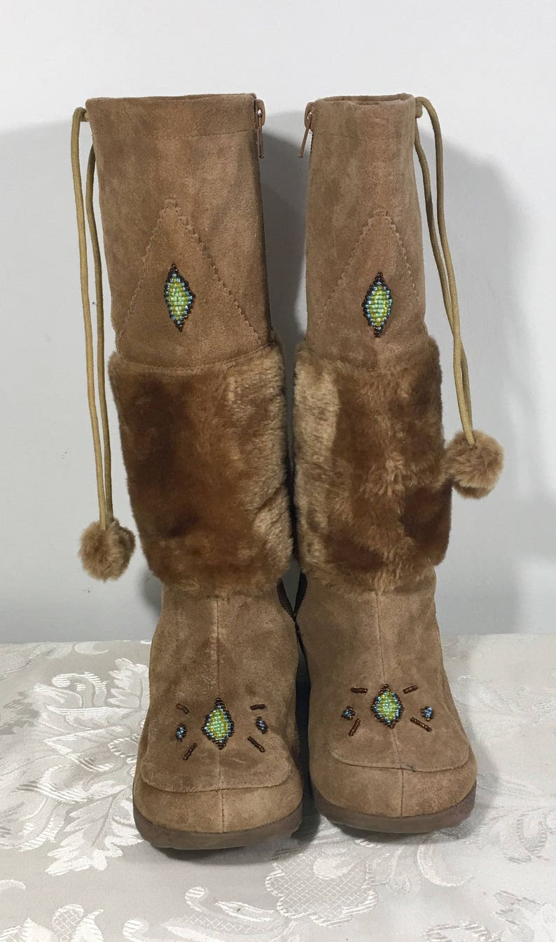 94dd5ee29ddc Leather boots Women s brown fur boots Beaded Boots
