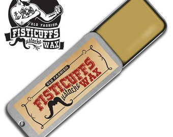 15g. (.50 ) ounces of Fisticuffs Mustache Wax hand poured into a vintage slide top locking tin