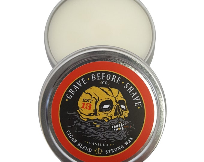 Fisticuffs Cigar Blend Strong Hold Mustache Wax 1 OZ. Tin