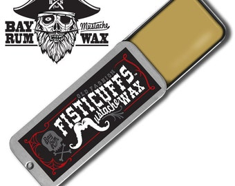 15 grams (.50) ounces of Bay Rum scent Fisticuffs Mustache Wax hand poured into a vintage slide top locking tin
