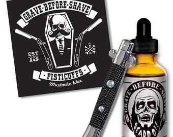GRAVE BEFORE SHAVE Beard Oil / Sticker & Switchblade comb