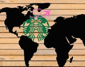 Full World Wrap with Airplane Starbucks Coffee SVG File Starbucks coffee CUT file Custom Starbucks Logo for Cricut or Silhouette Cameo DIY