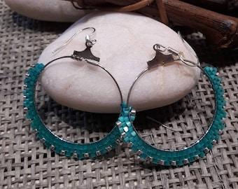 creole earrings turquoise
