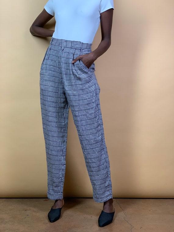 Gianni Versace navy/white gingham Linen Pants