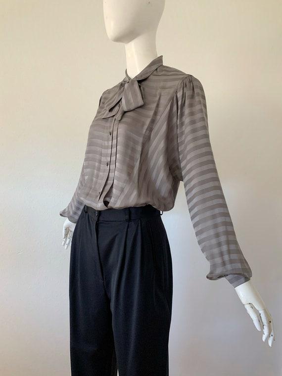 Vintage Allan Austin Silk Grey Blouse