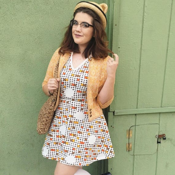 1960's Mod Gogo Polka Dotted Mini Dress