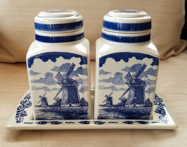 After Christmas Special-Delft Blauw Spice Jar Set with Tray ~ Hand Painted in Holland